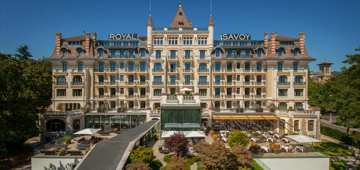 Exterior shot of Royal Savoy Hotel and Spa in Lausanne, Switzerland