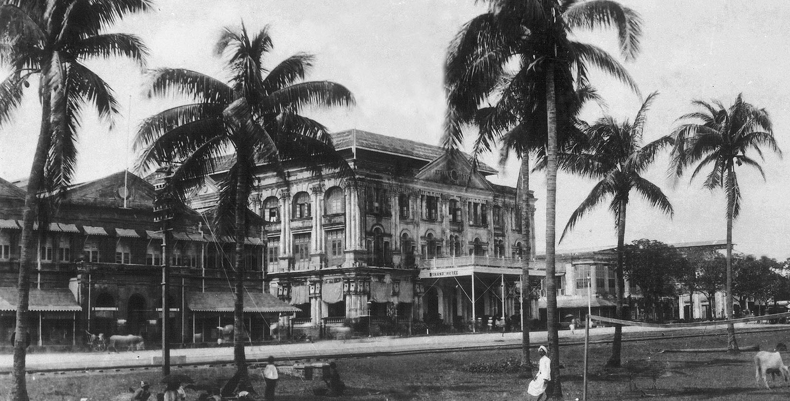 Historic Exterior of the Strand Hotel in Yangon, Myanmar