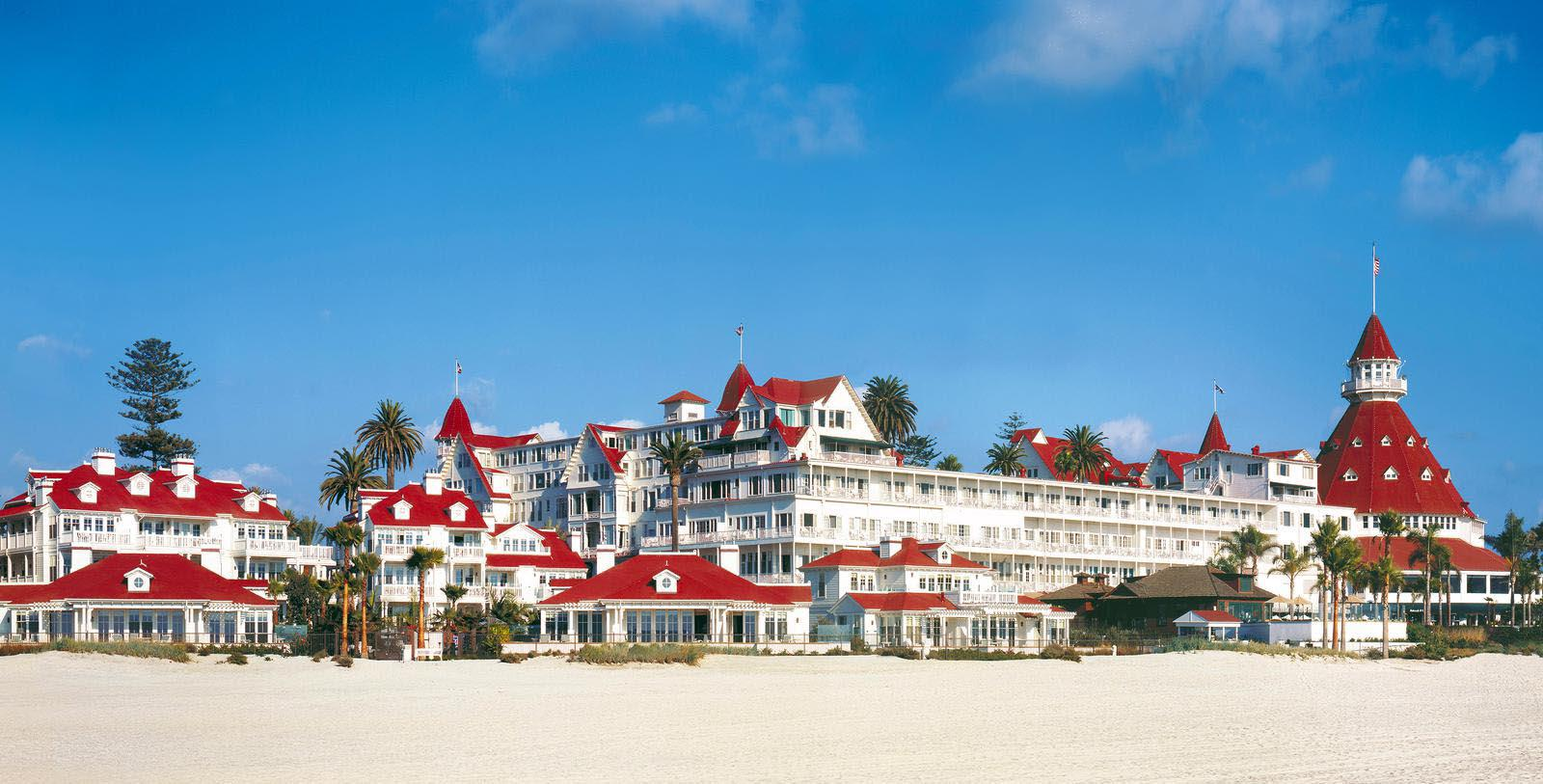 Image of Exterior View from Beach, Hotel del Coronado in Coronado, California, 1888, Member of Historic Hotels of America, Overview