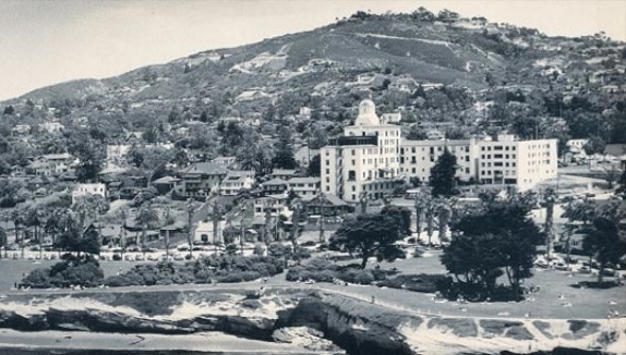 Historical Image of Exterior Aerial View, La Valencia Hotel, 1926, Member of Historic Hotels of America, in La Jolla, California.