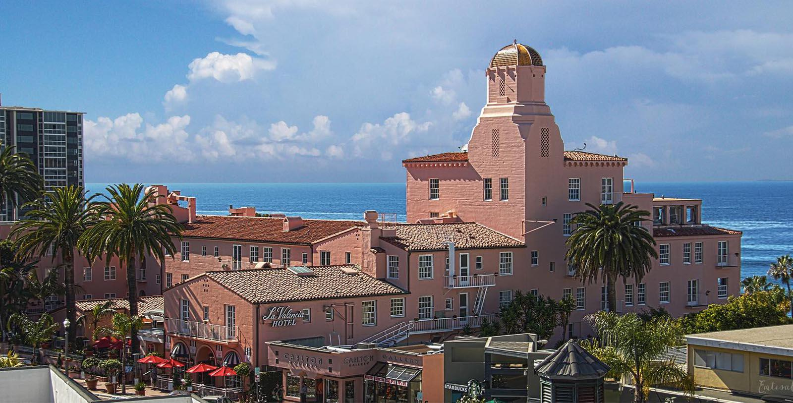 Image of Exterior & Ocean View, La Valencia Hotel in La Jolla, Califronia, 1926, Member of Historic Hotels of America, Discover