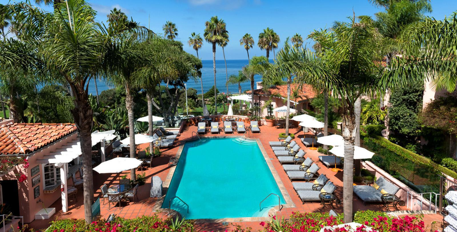Image of Outdoor Pool, La Valencia Hotel in La Jolla, Califronia, 1926, Member of Historic Hotels of America, Hot Deals