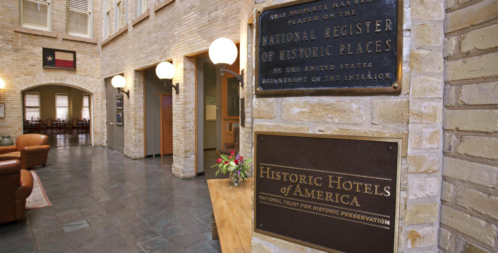 Image of Historic Hotels of America Placard Outside of The Crockett Hotel, 1909, Member of Historic Hotels of America, in San Antonio, Texas, Discover