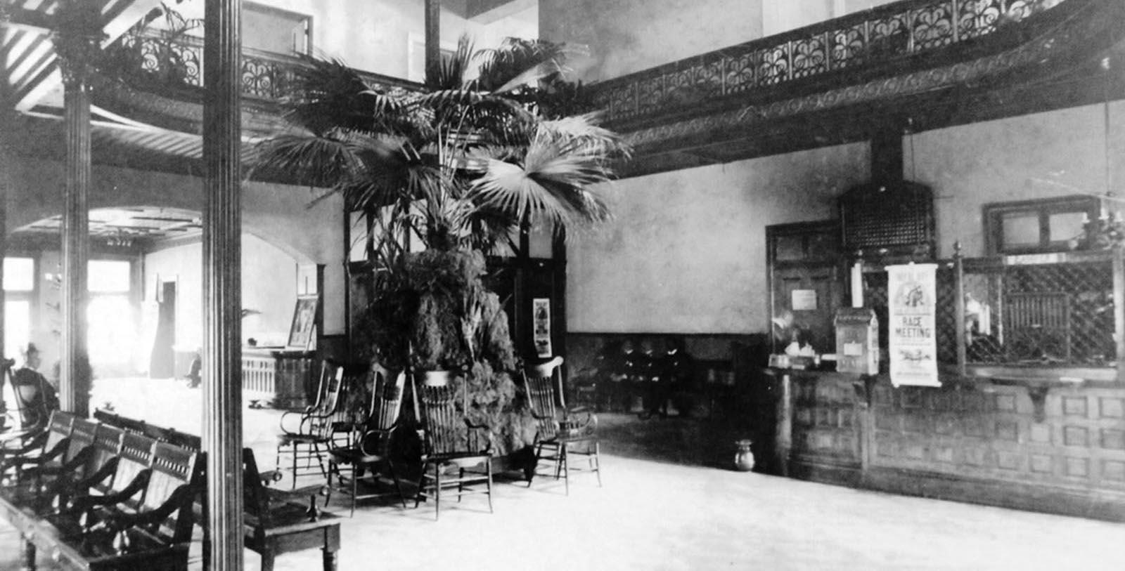 Historic Image of Hotel Lobby at The Menger Hotel, 1859, Member of Historic Hotels of America, in San Antonio, Texas, Discover