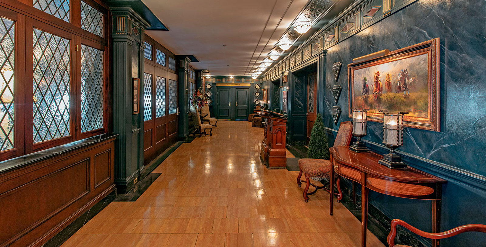 Image of English Grille Hallway The Brown Hotel, 1923, Member of Historic Hotels of America, in Louisville, Kentucky, Explore
