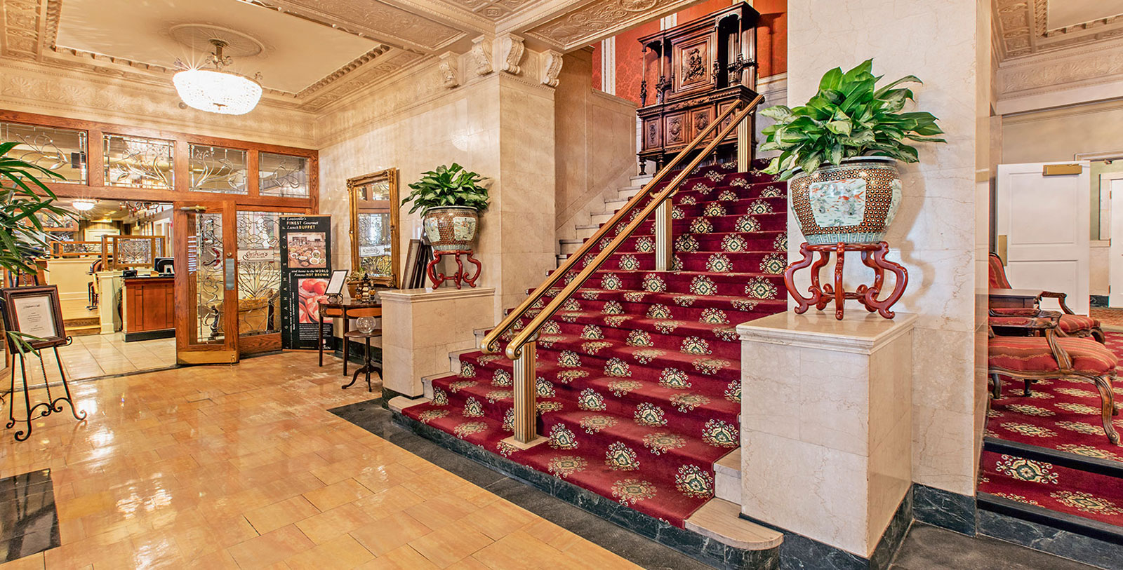 Image of Lobby Stairs The Brown Hotel, 1923, Member of Historic Hotels of America, in Louisville, Kentucky, Experience