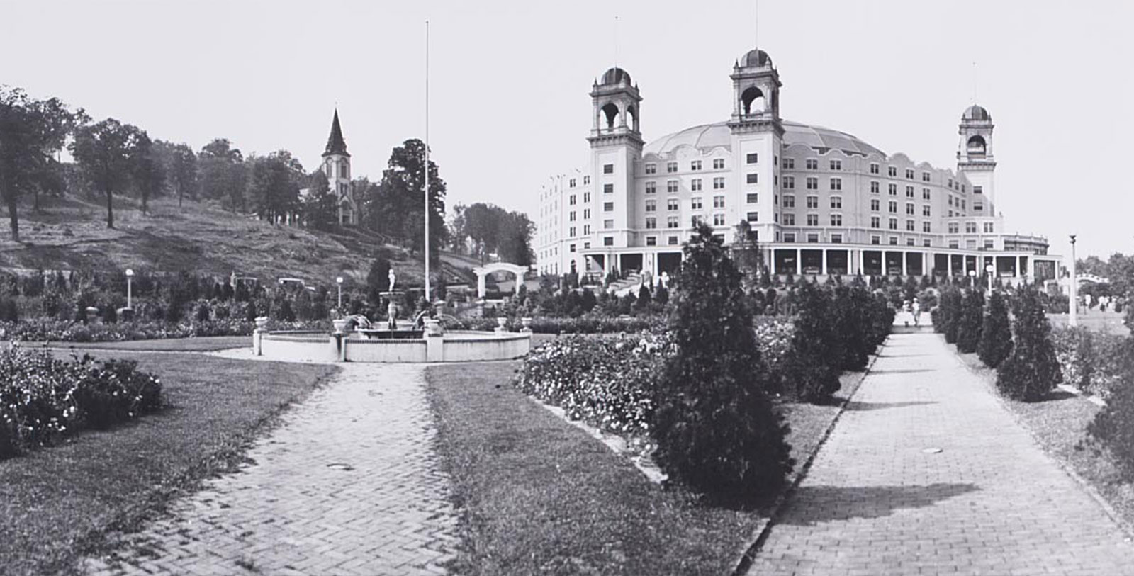 Historic image of hotel exterior at West Baden Springs Hotel, 1902, Member of Historic Hotels of America, in West Baden Springs, Indiana, Discover