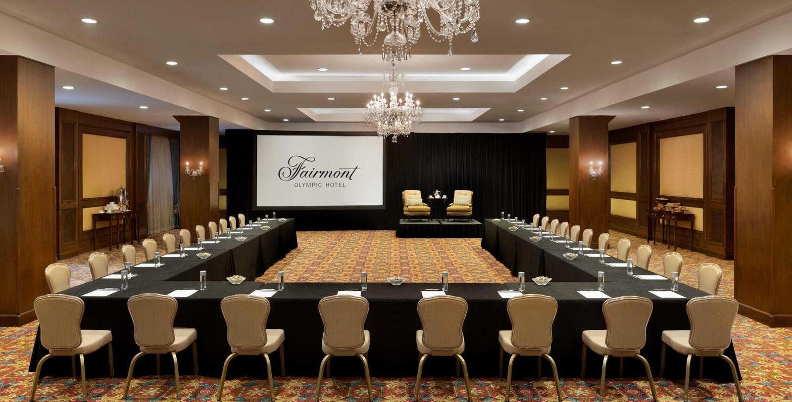 Image of meeting room conference set up Fairmont Olympic Hotel, 1924, Member of Historic Hotels of America, in Seattle, Washington, Experience