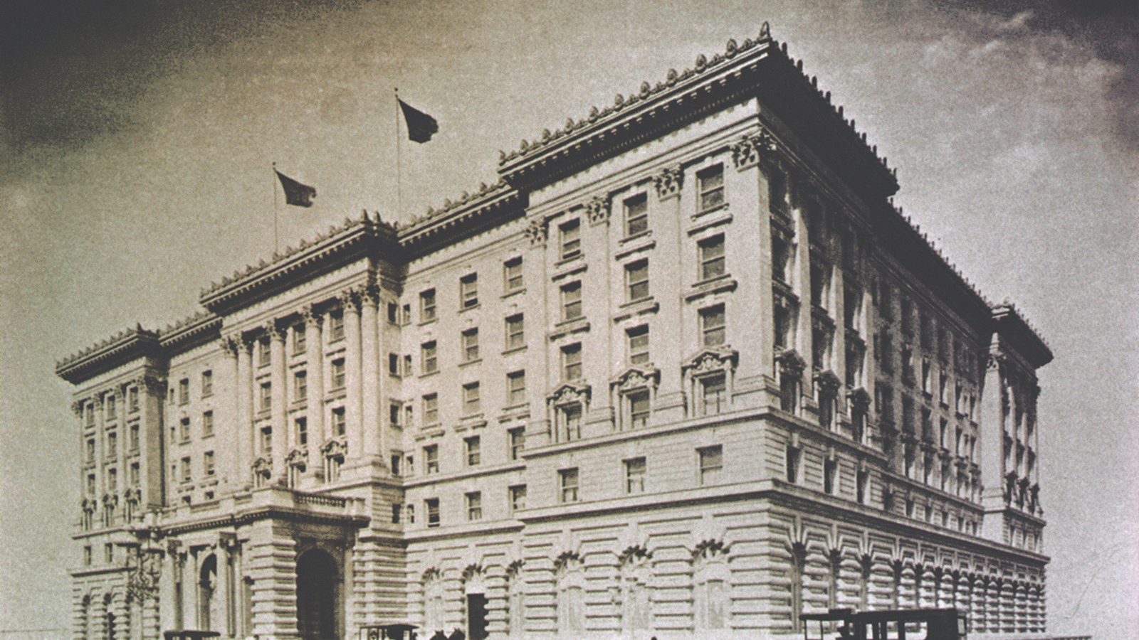 Historical Image of Exterior with Historic Automobiles, The Fairmont Hotel San Francisco, 1907, Member of Historic Hotels of America, in San Francisco, California.
