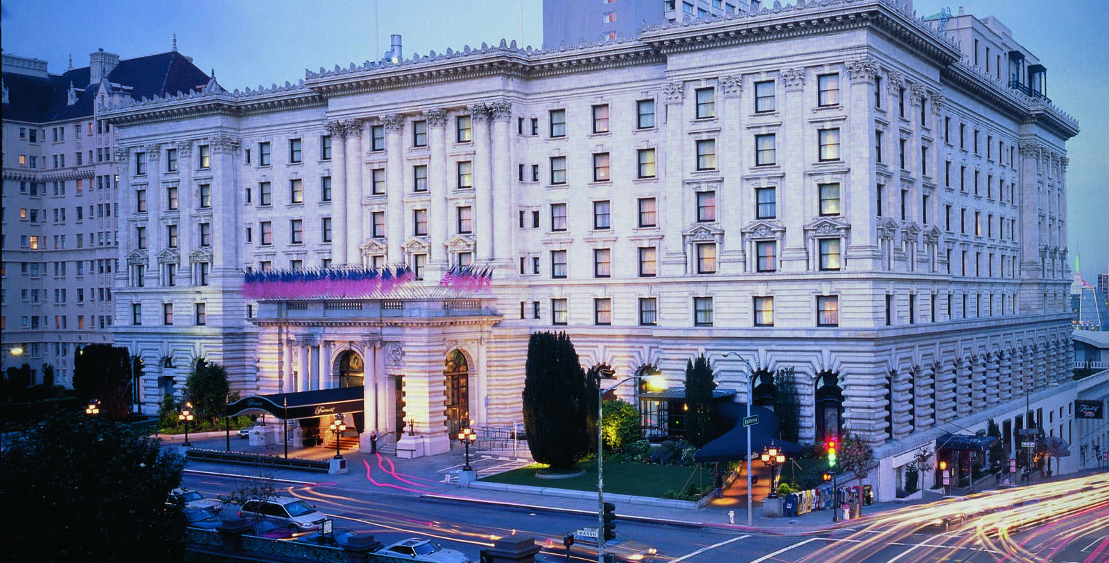 Image of Dining on Balcony with San Francisco skyline Hotel Exterior The Fairmont Hotel San Francisco, 1907, Member of Historic Hotels of America, in San Francisco, California, Explore