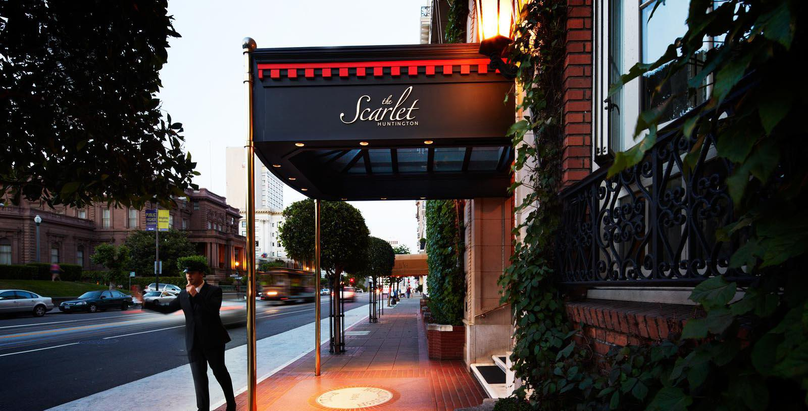 Image of Entrance to The Scarlet at The Huntington Hotel, 1924, Member of Historic Hotels of America, in San Francisco, Discover