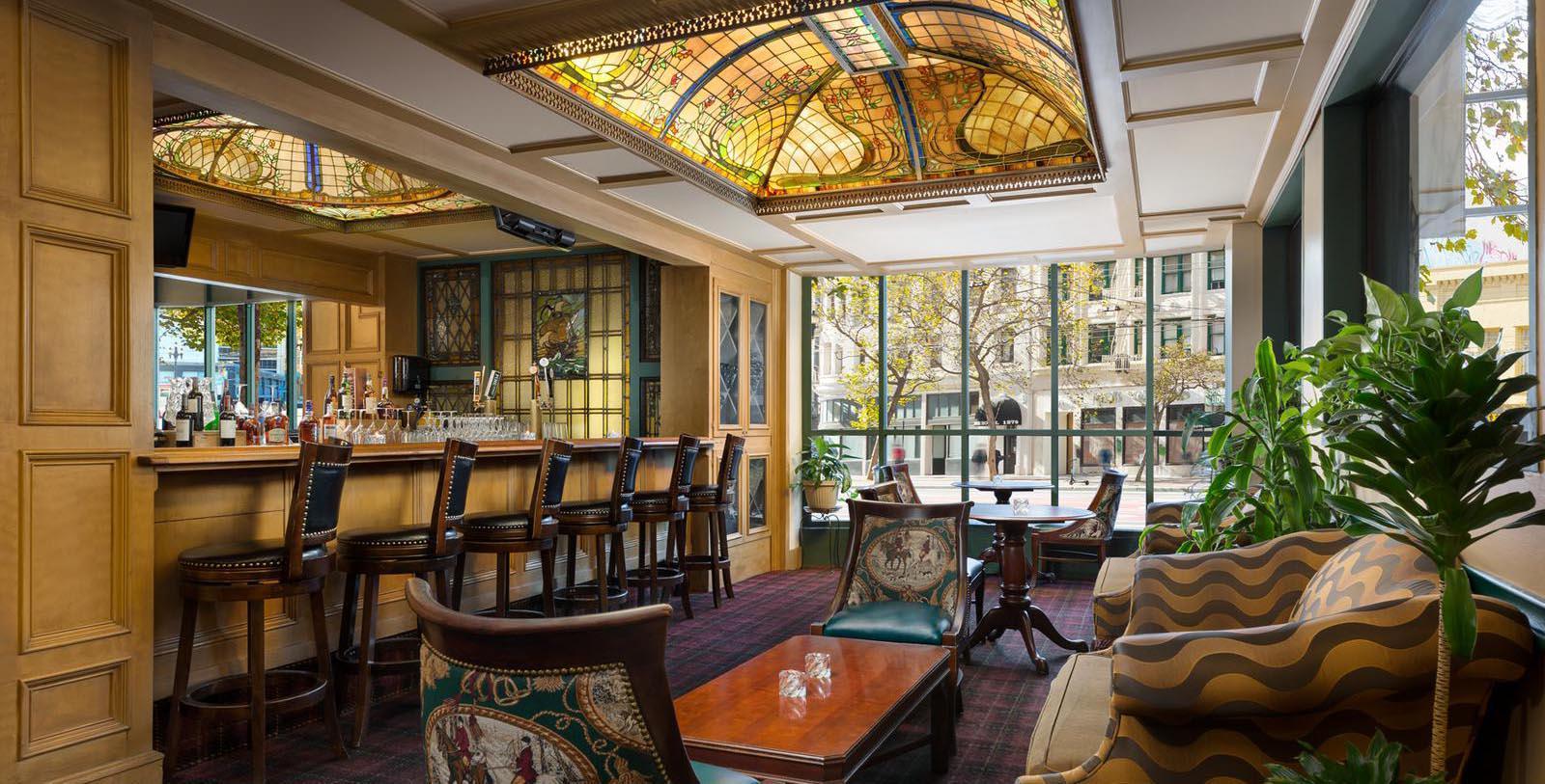 Image of Lobby Bar, Hotel Whitcomb in San Francisco, California, 1916, Member of Historic Hotels of America, Taste