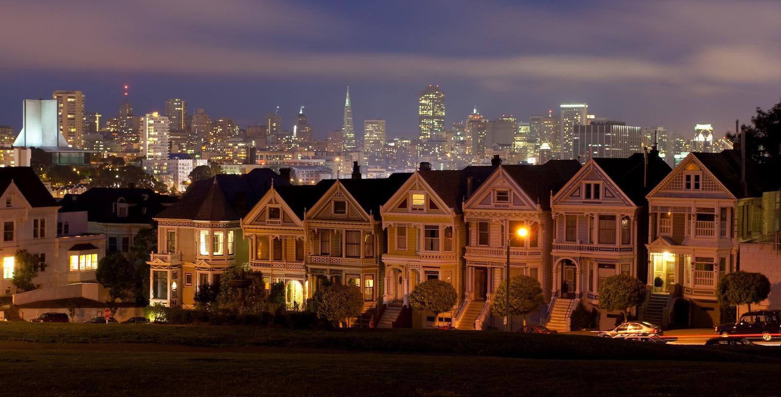 Image of Painted Ladies at Night, InterContinental Mark Hopkins Hotel in San Francisco, California, 1926, Member of Historic Hotels of America, Explore