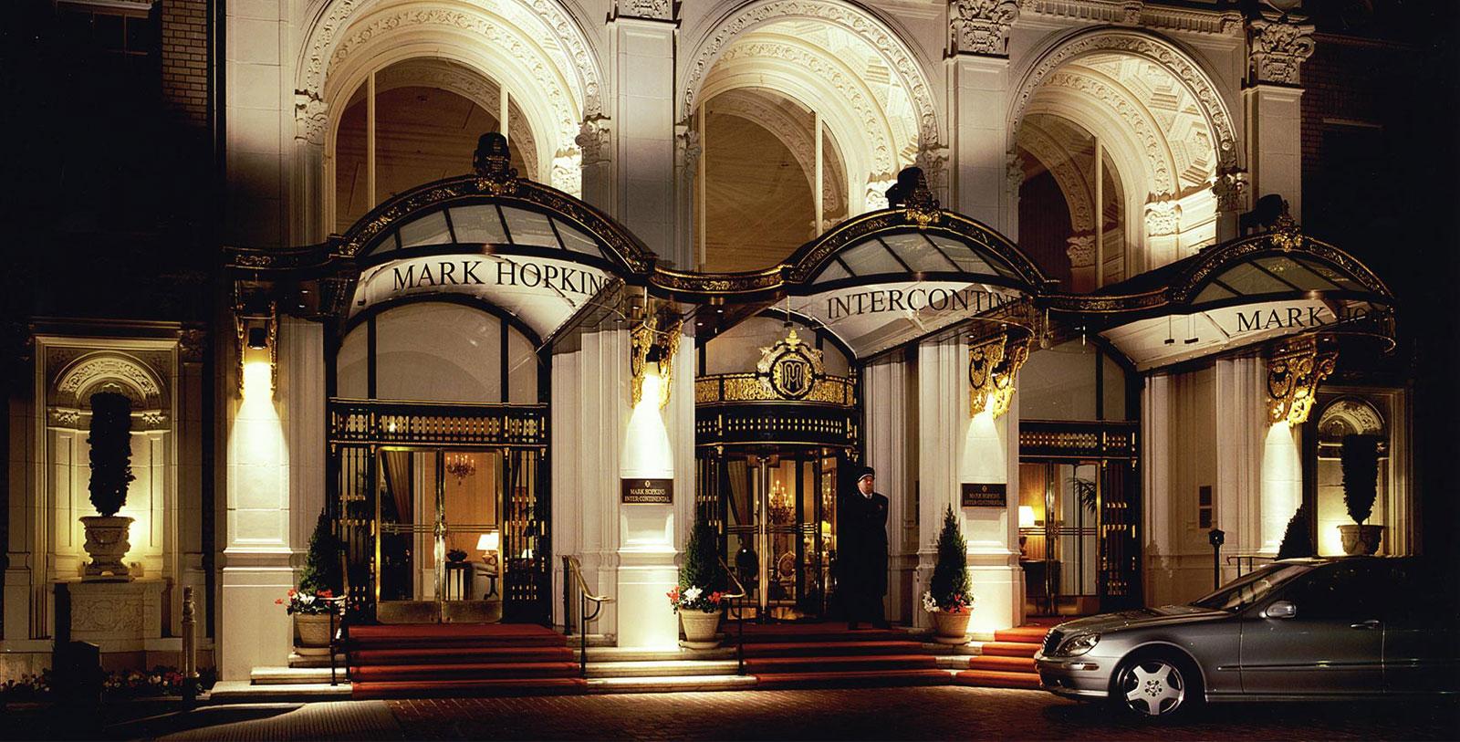 Image of Hotel Exterior at Night, InterContinental Mark Hopkins Hotel in San Francisco, California, 1926, Member of Historic Hotels of America, Hot Deals