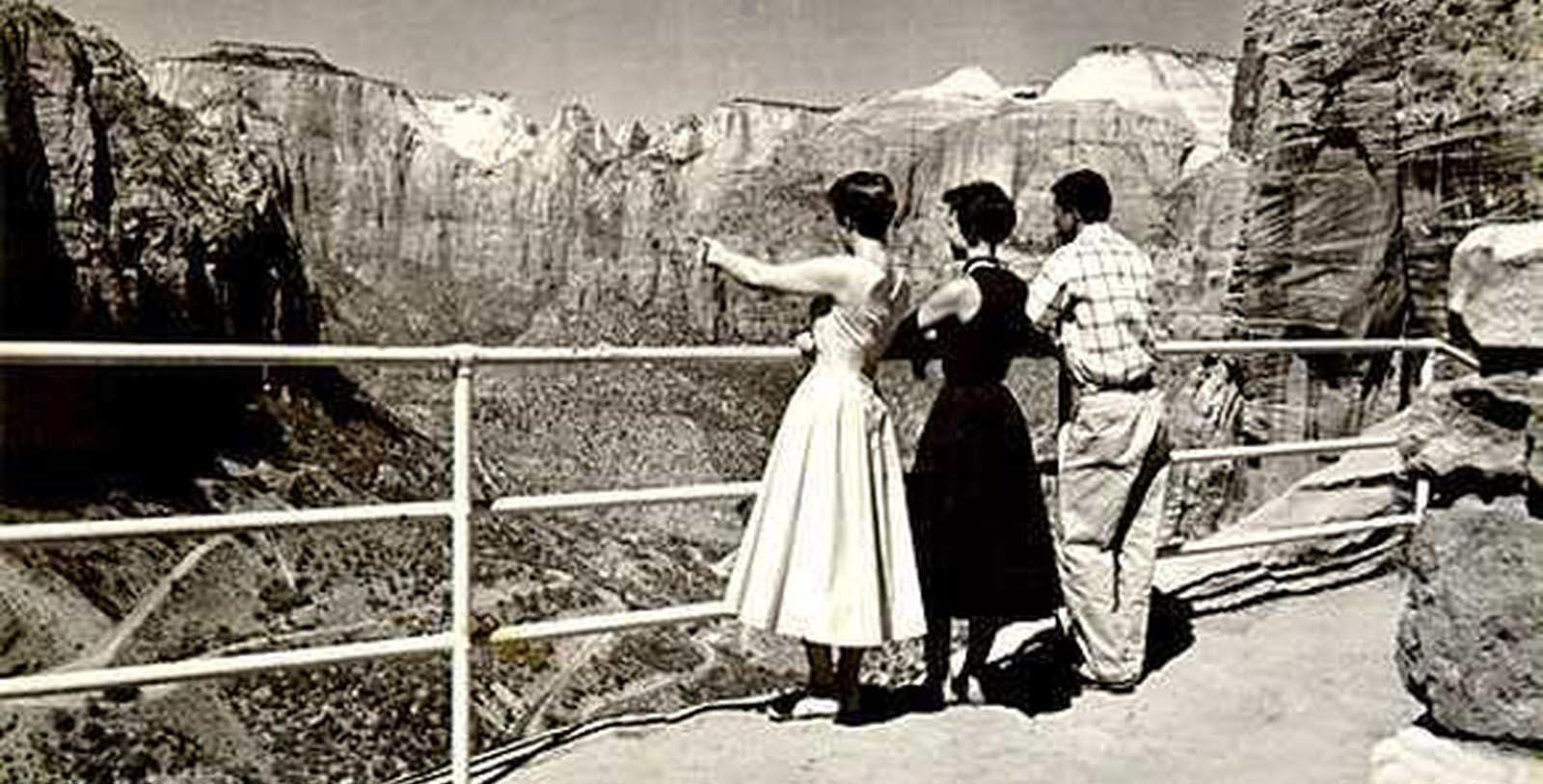 Historic image of guests at Zion Lodge, 1924, Member of Historic Hotels of America, in Springdale, Utah, Discover