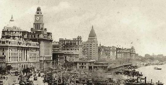 Historical Image of Exterior Along Bund, Fairmont Peace Hotel, Historic Hotels Worldwide, in Shanghai, China.