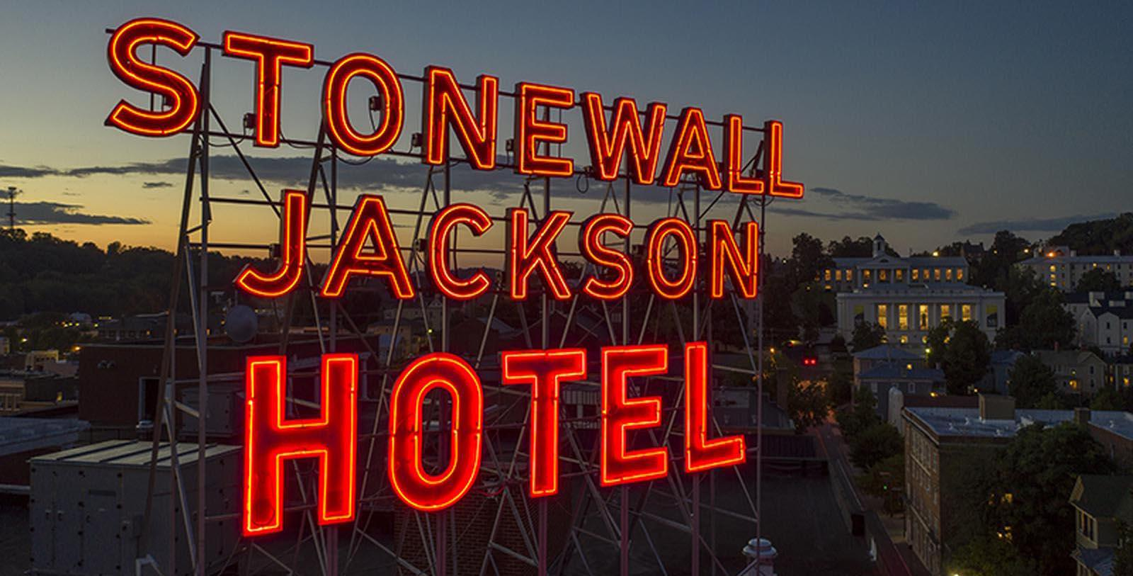 Image of Stonewall Jackson Neon Sign, Stonewall Jackson Hotel & Conference Center, 1924, Member of Historic Hotels of America, in Staunton, Virginia, Explore