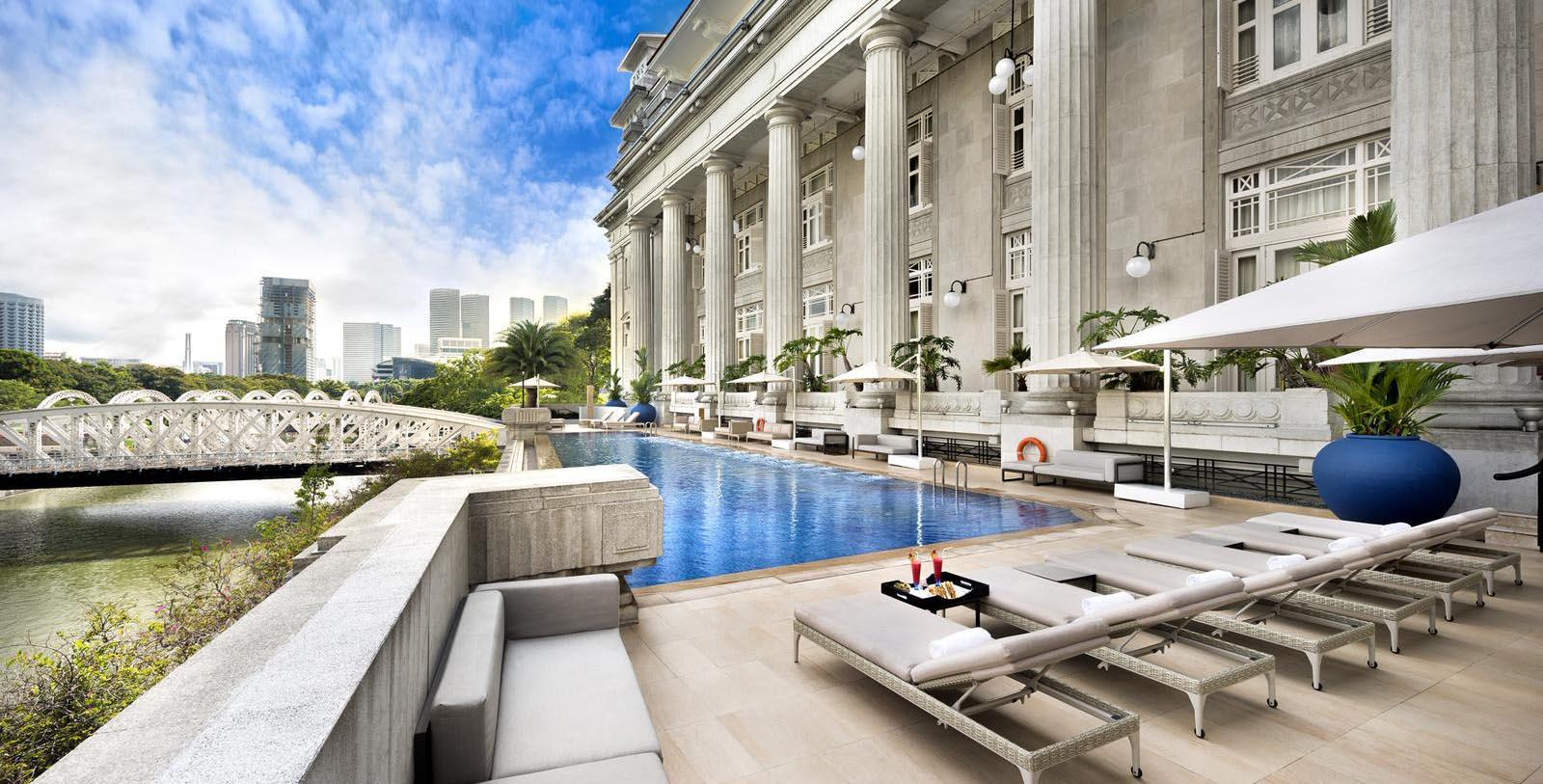 Image of Pool Terrace at The Fullerton Hotel Singapore, 1924, Member of Historic Hotels Worldwide, in Singapore, Explore