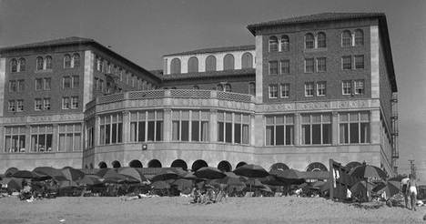 Historical Image of Exterior with Beachside View, Hotel Casa del Mar, 1926, Member of Historic Hotels of America, in Santa Monica, California.