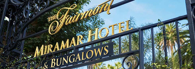 Image of hotel gate with sign Fairmont Miramar Hotel & Bungalows, 1921, Member of Historic Hotels of America, in Santa Monica, California, Location Map