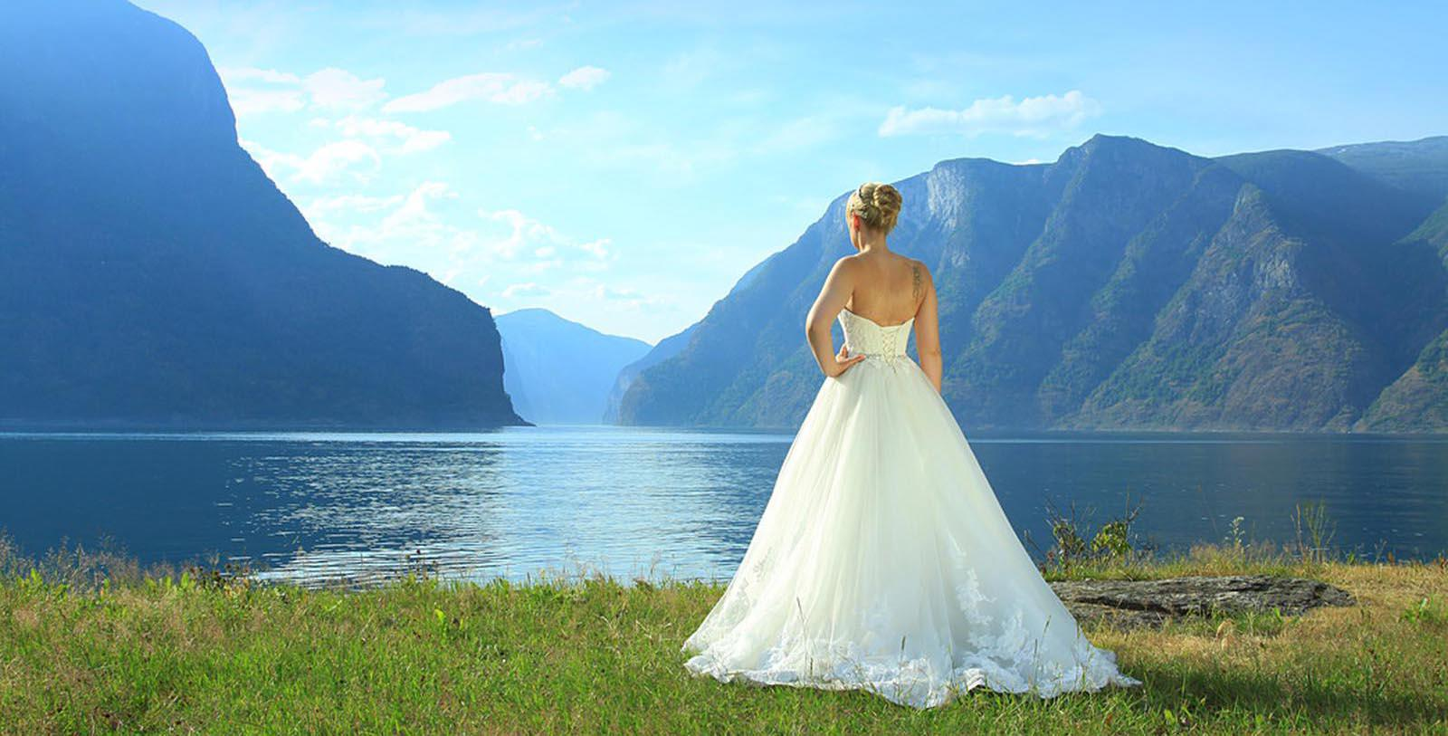 Image of Bride in front of Mountains, Fretheim Hotel, Flam, Norway, 1870, Member of Historic Hotels Worldwide, Experience