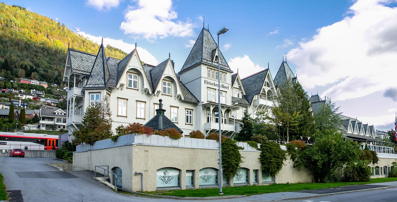 Image of Hotel Exterior Fleischer's Hotel, 1864, Member of Historic Hotels Worldwide, in Voss, Norway, Overview