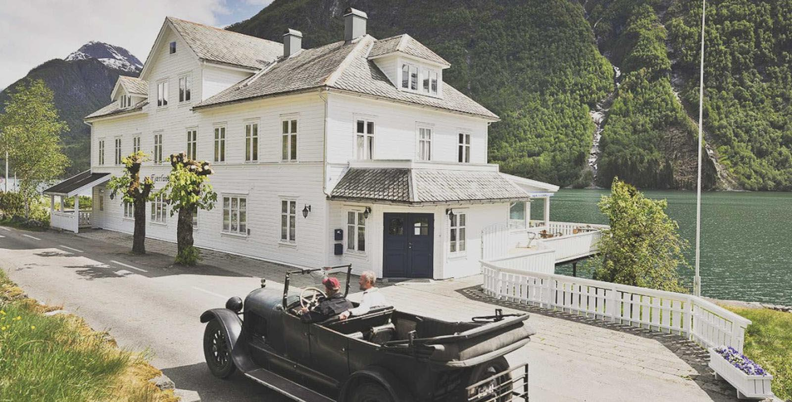 Image of Hotel Exterior Fjaerland Fjordstove Hotel & Restaurant, 1937, Member of Historic Hotels Worldwide, in Fjærland, Norway, Discover