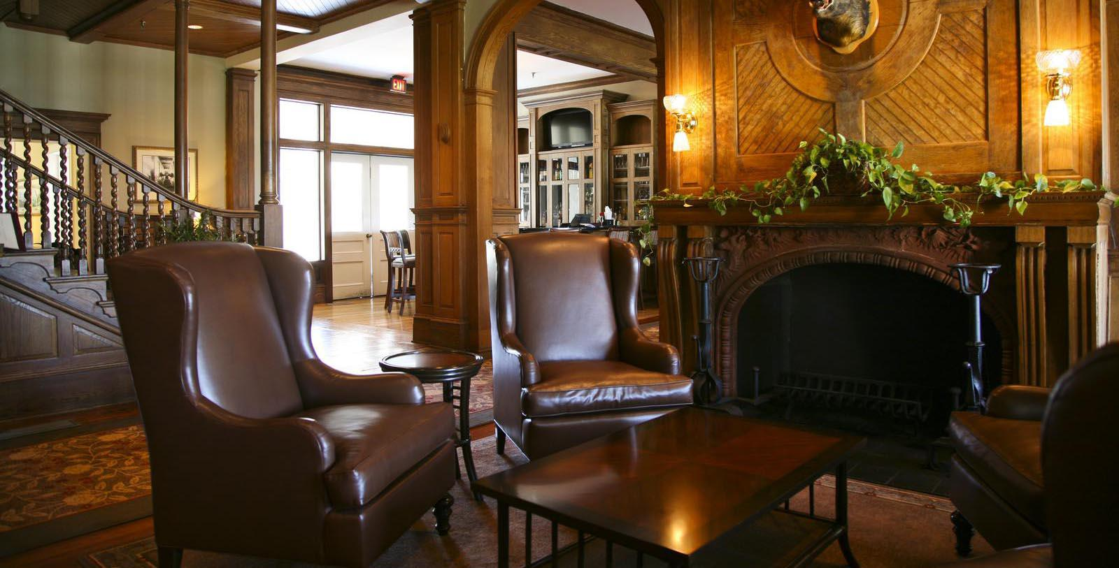 Image of Lobby Seating and FIreplace, Jekyll Island Club Resort in Jekyll Island, Georgia, 1886 Member of Historic Hotels of America, Hot Deals