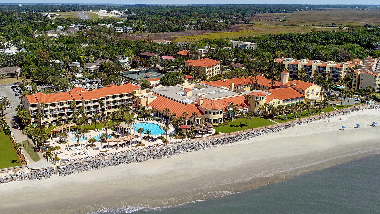 Image of Hotel Exterior The King and Prince Beach and Golf Resort, 1935, Member of Historic Hotels of America, on St. Simons Island, Georgia, Overview