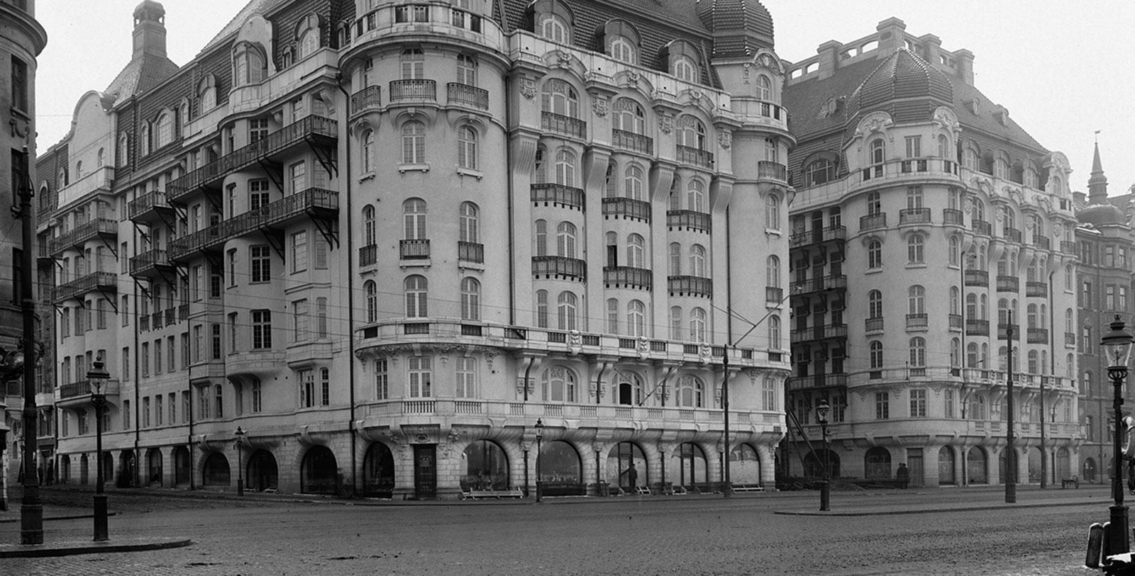 Historical Image of Exterior and Strandvägen, Hotel Diplomat, 1911, Member of Historic Hotels Worldwide, in Stockholm, Sweden.