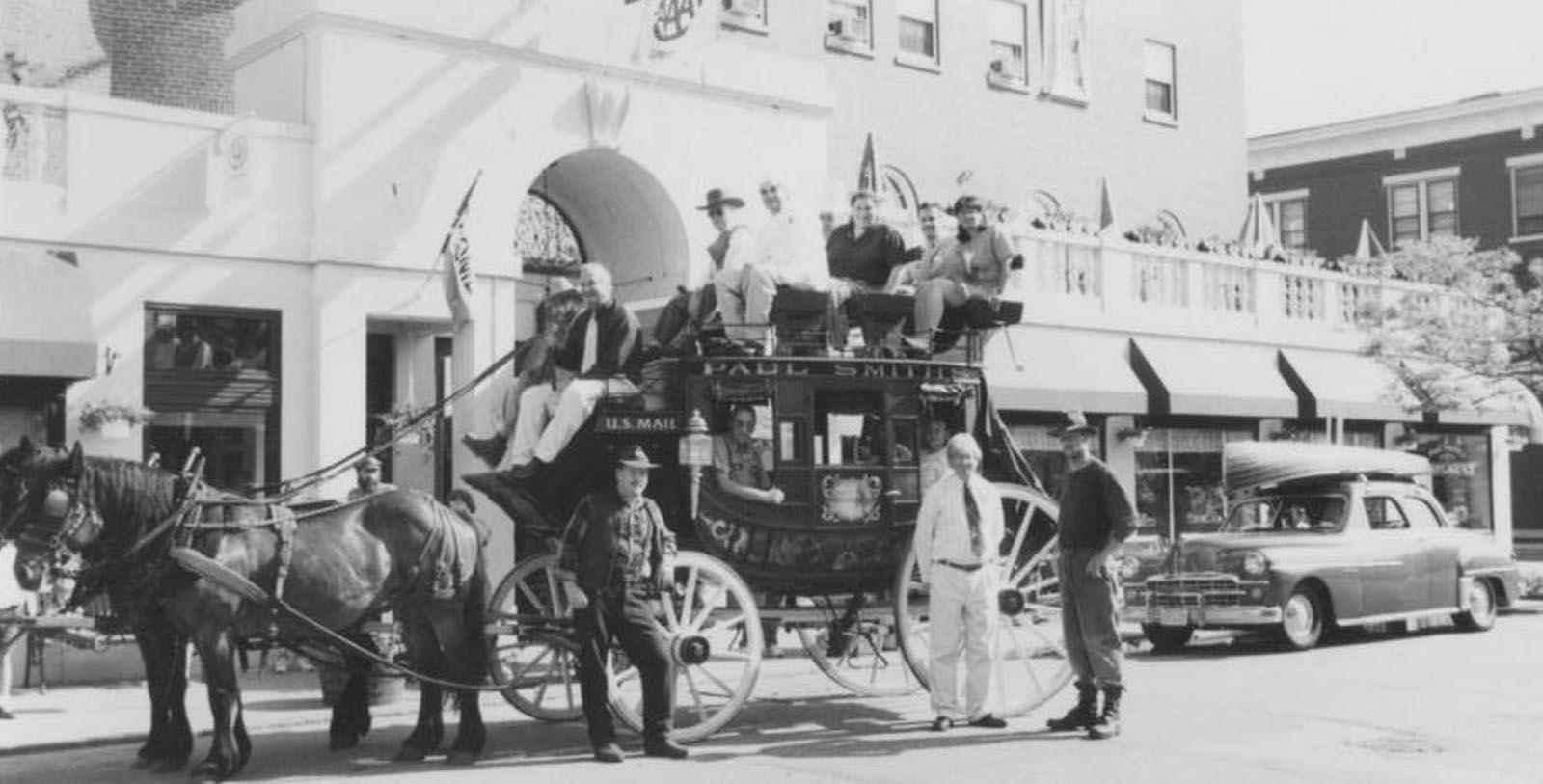 Image of Historic Exterior & Horse-Drawn Carriage, Hotel Saranac, Curio Collection by Hilton in Saranac Lake, New York, 1927, Member of Historic Hotels of America, Discover