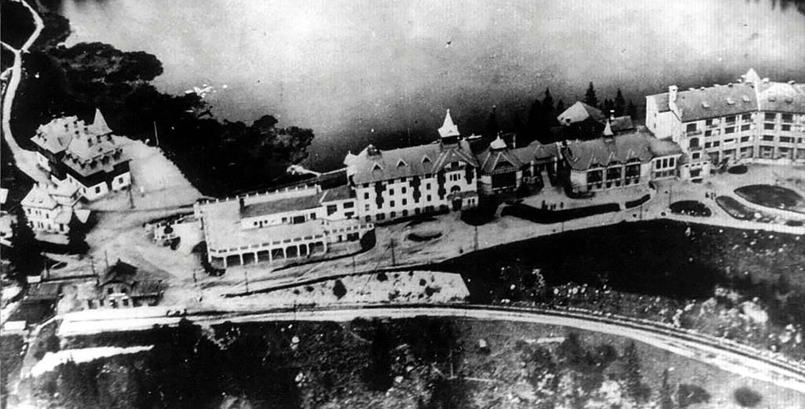 Image of Historic Aerial View, Grand Hotel Kempinski High Tatras, Strbske Pleso, Slovakia, 1893, Member of Historic Hotels Worldwide, Discover