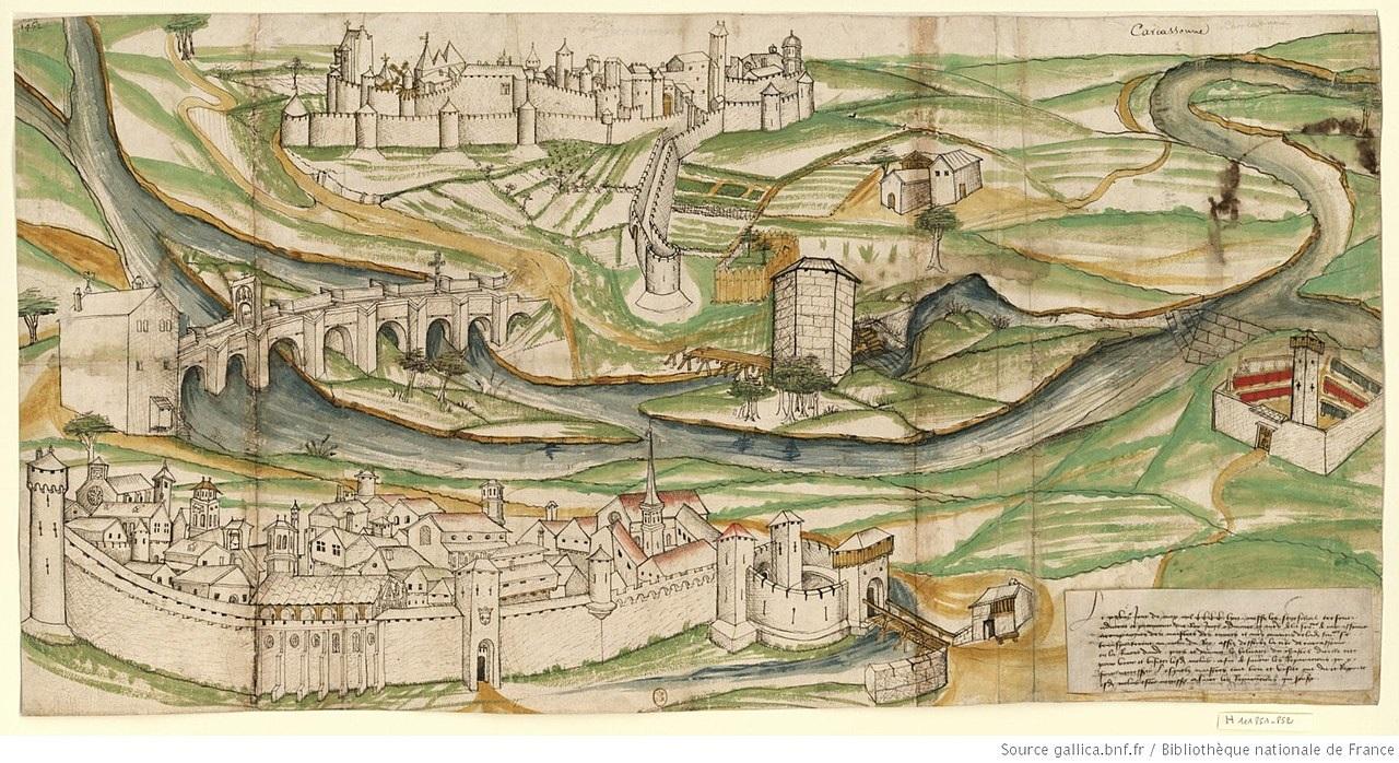 Historical Image of Cité Carcassonne Circa .1460s, Hôtel de la Cité Carcassonne - MGallery by Sofitel, 1909, Member of Historic Hotels Worldwide, in Carcassonne, France.