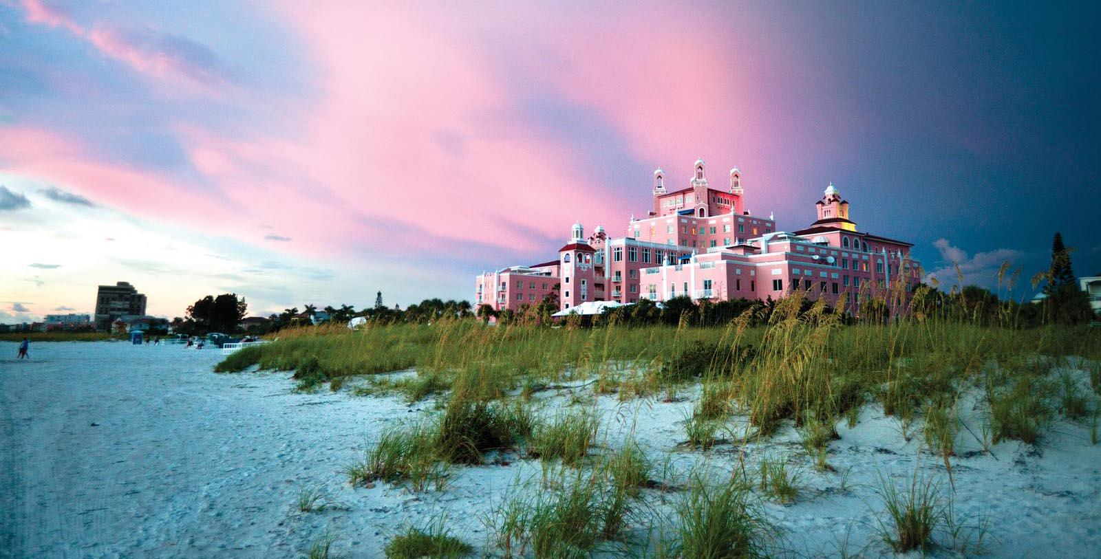 Image of Exterior with Beach The Don CeSar, 1928, Member of Historic Hotels of America, in St. Petersburg, Florida, Overview