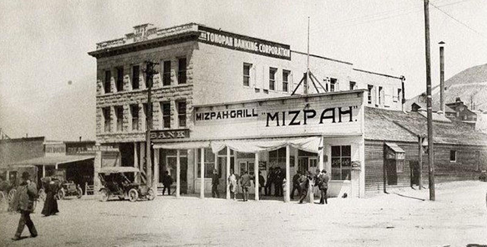 Historic Exterior of Mizpah Hotel, 1907, Member of Historic Hotels of America, in Tonopah, Nevada, History