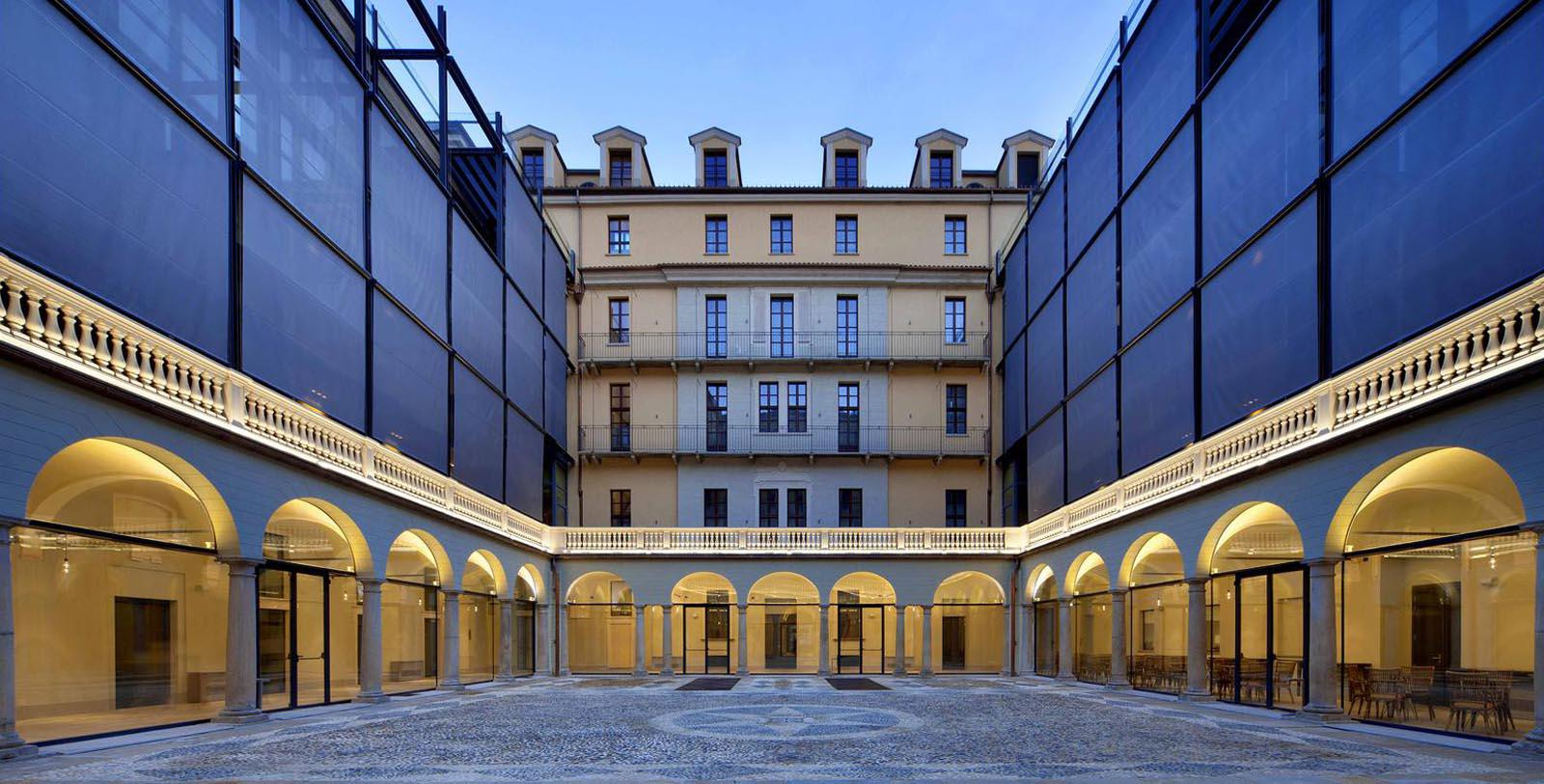 Image of Courtyard NH Collection Turin Piazza Carlina, 17th Century, Member of Historic Hotels Worldwide, in Turin, Italy, Special Offers, Discounted Rates, Families, Romantic Escape, Honeymoons, Anniversaries, Reunions