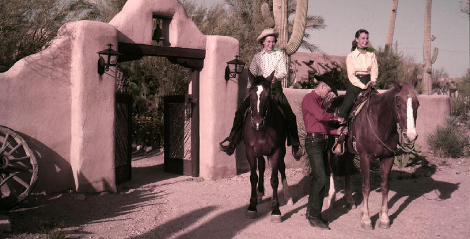 Historic image of people on horseback Hacienda Del Sol Guest Ranch Resort, 1929, Member of Historic Hotels of America, in Tuscan, Arizona, Discover