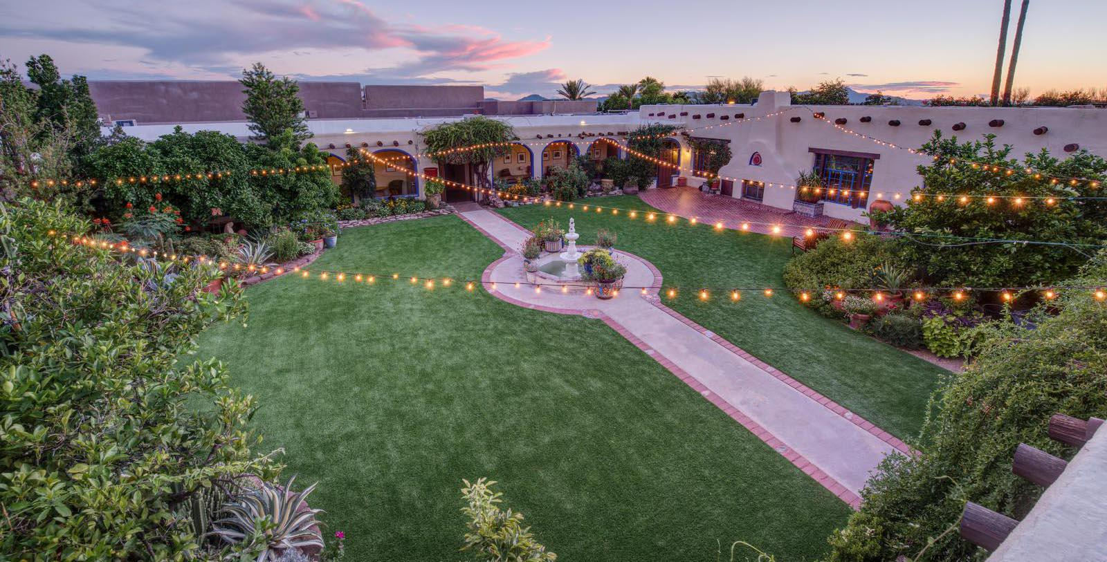 Image of exterior courtyard at night Hacienda Del Sol Guest Ranch Resort, 1929, Member of Historic Hotels of America, in Tuscan, Arizona, Experience