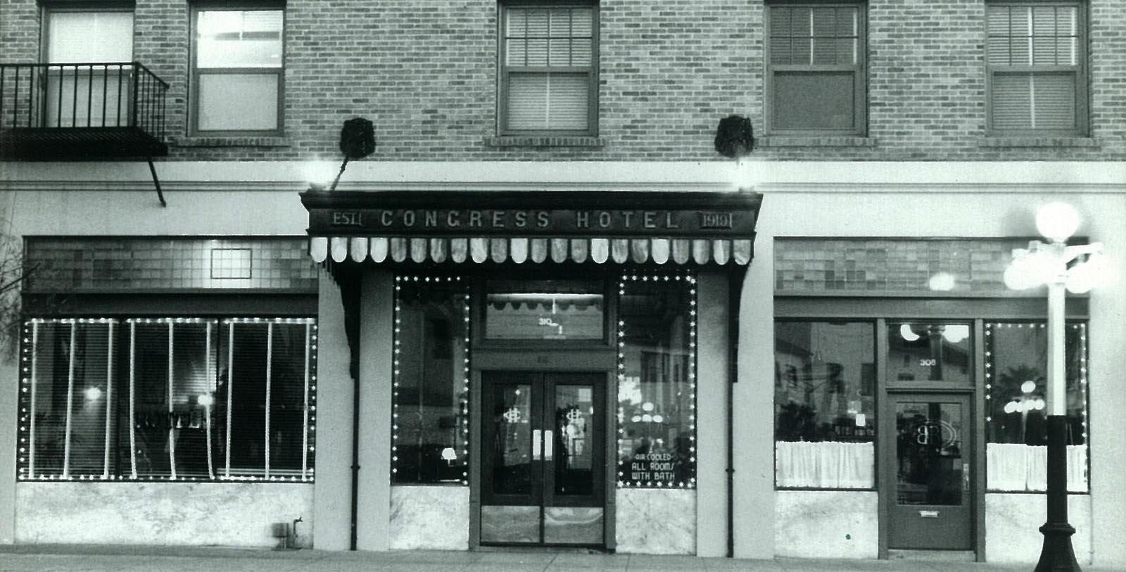 Historic Image of Entrance The Hotel Congress, 1919, Member of Historic Hotels of America, in Tucson, Arizona, Discover