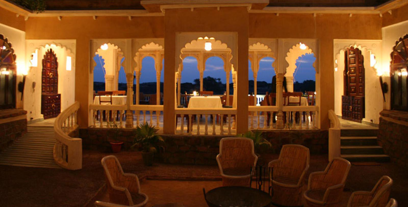 Image of dining room at restauranat at ight Deogarh Mahal, 1670, Member of Historic Hotels Worldwide, in Deogarh, India, Taste