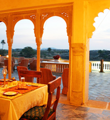 Dining at      Fort Seengh Sagar  in Deogarh