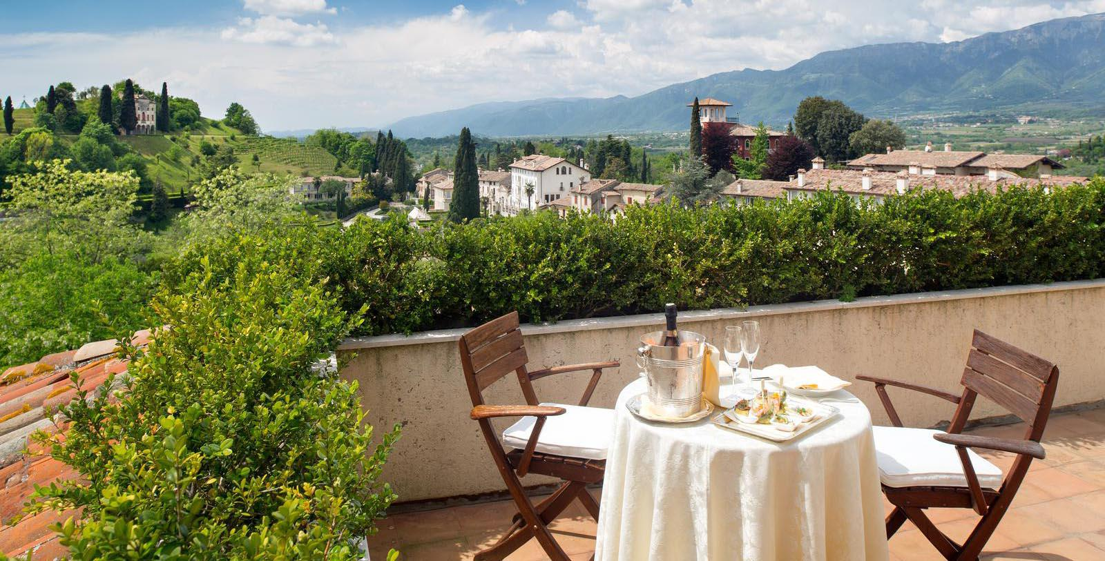 Image of Meal on Balcony Hotel Villa Cipriani, 1889, Member of Historic Hotels Worldwide, in Asolo, Italy, Hot Deals