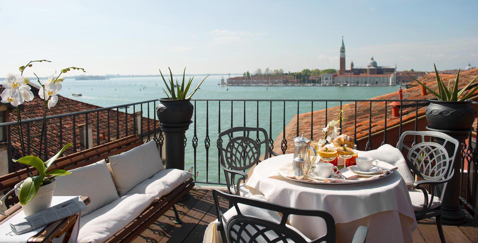 Image of Outdoor Dining on Balcony Metropole Hotel, 1500, Member of Historic Hotels Worldwide, in Venice, Italy, Hot Deals