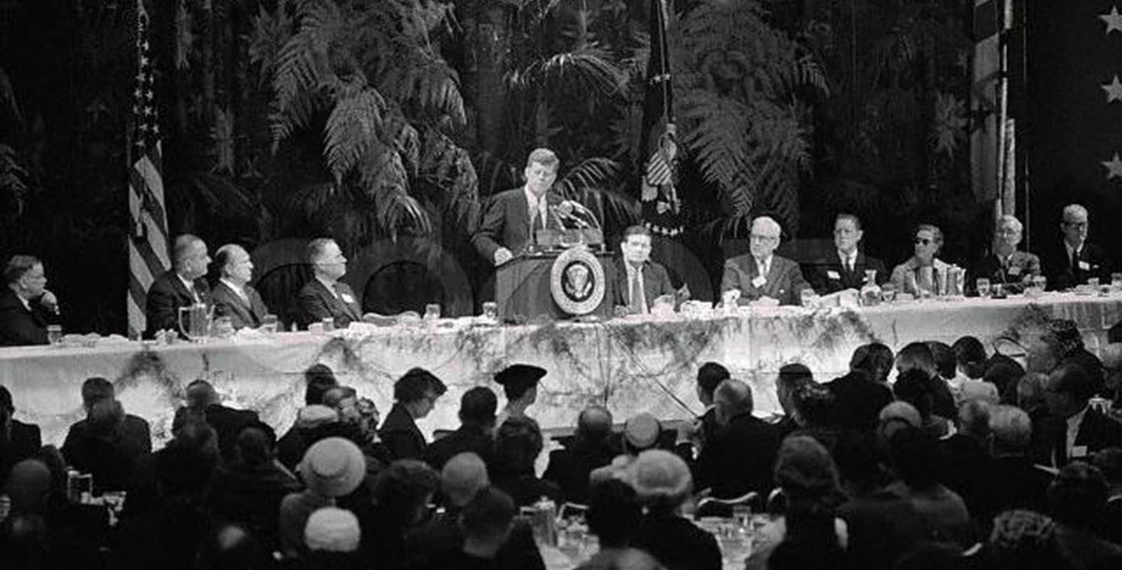 Historic Image of John F Kennedy and crowd at Capital Hilton, 1943, Member of Historic Hotels of America, in Washington, District of Columbia, Discover