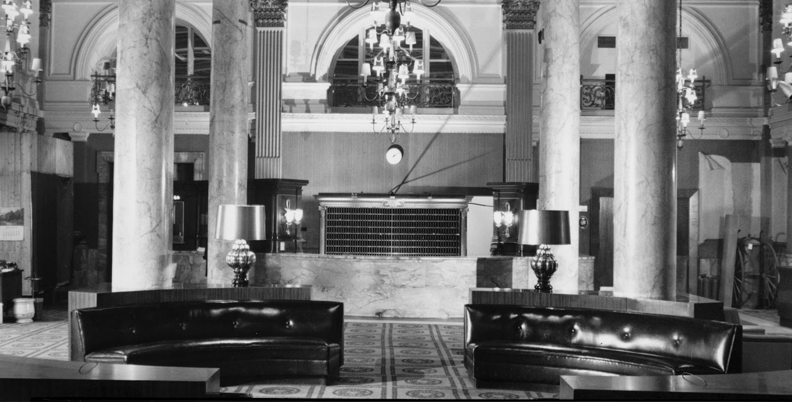 Lobby of The Willard Intercontinental Hotel in the 1960s, The Willard Intercontinental Hotel, 1847, Member of Historic Hotels of America, Washington, District of Columbia, History Mystery