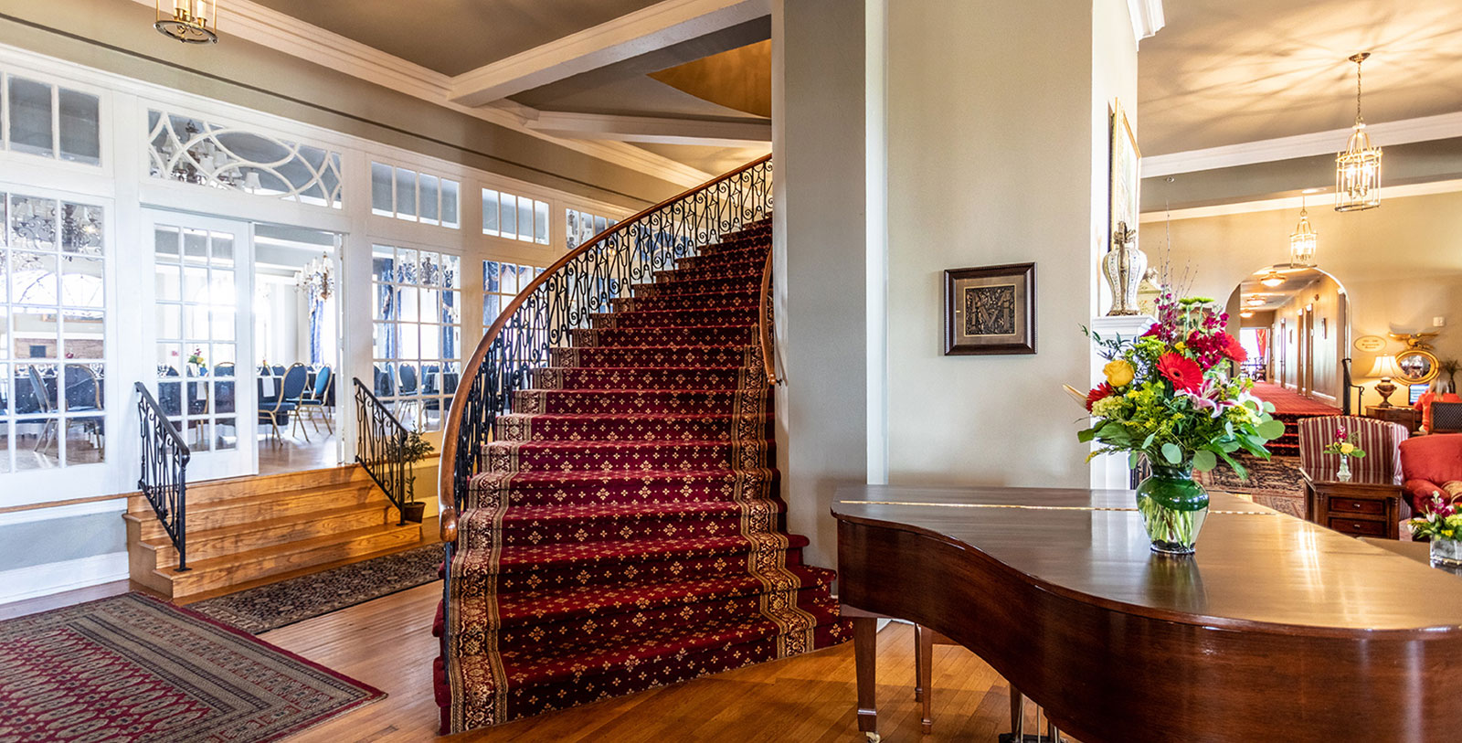 Image of Staircase at The Mimslyn Inn, 1931, Member of Historic Hotels of America, in Luray, Virginia, Hot Deals