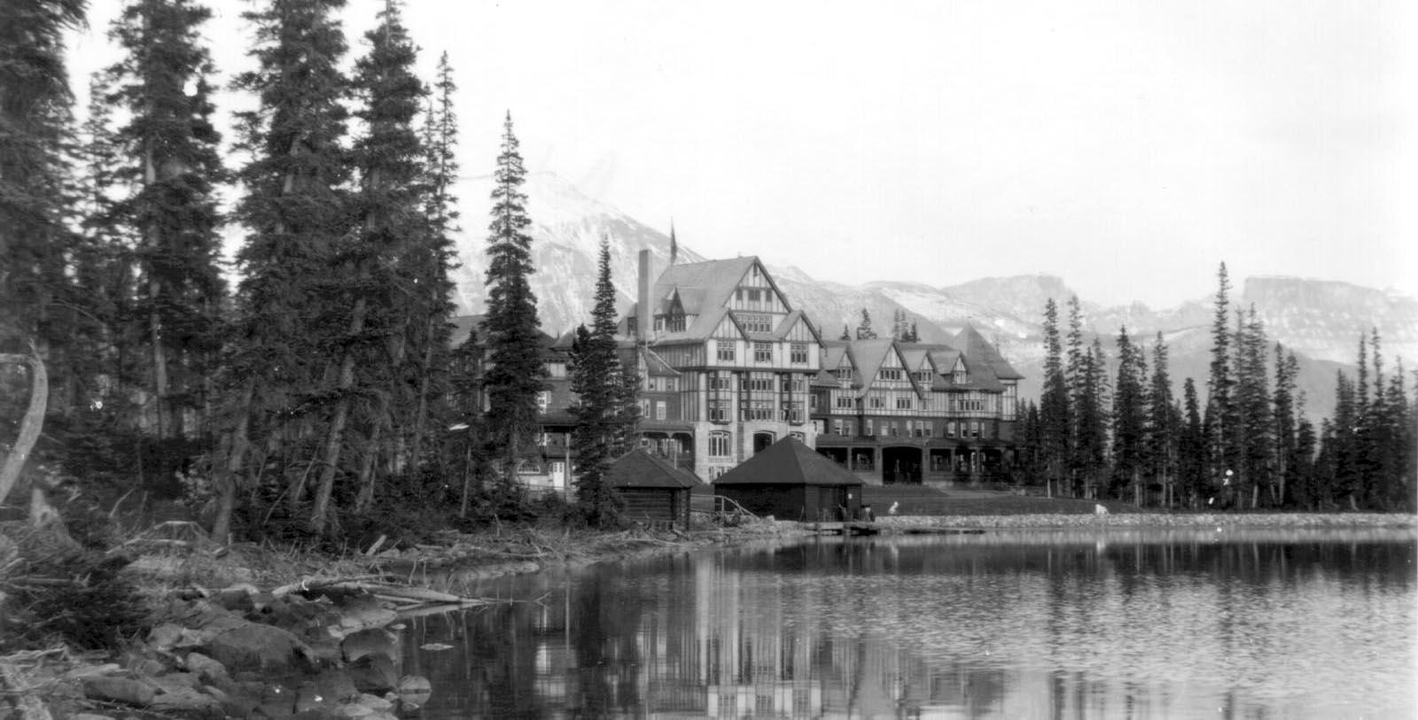 Historic image of hotel exterior Fairmont Chateau Lake Louise, 1911, Member of Historic Hotels Worldwide, in Lake Louise, Alberta, Canada, Discover