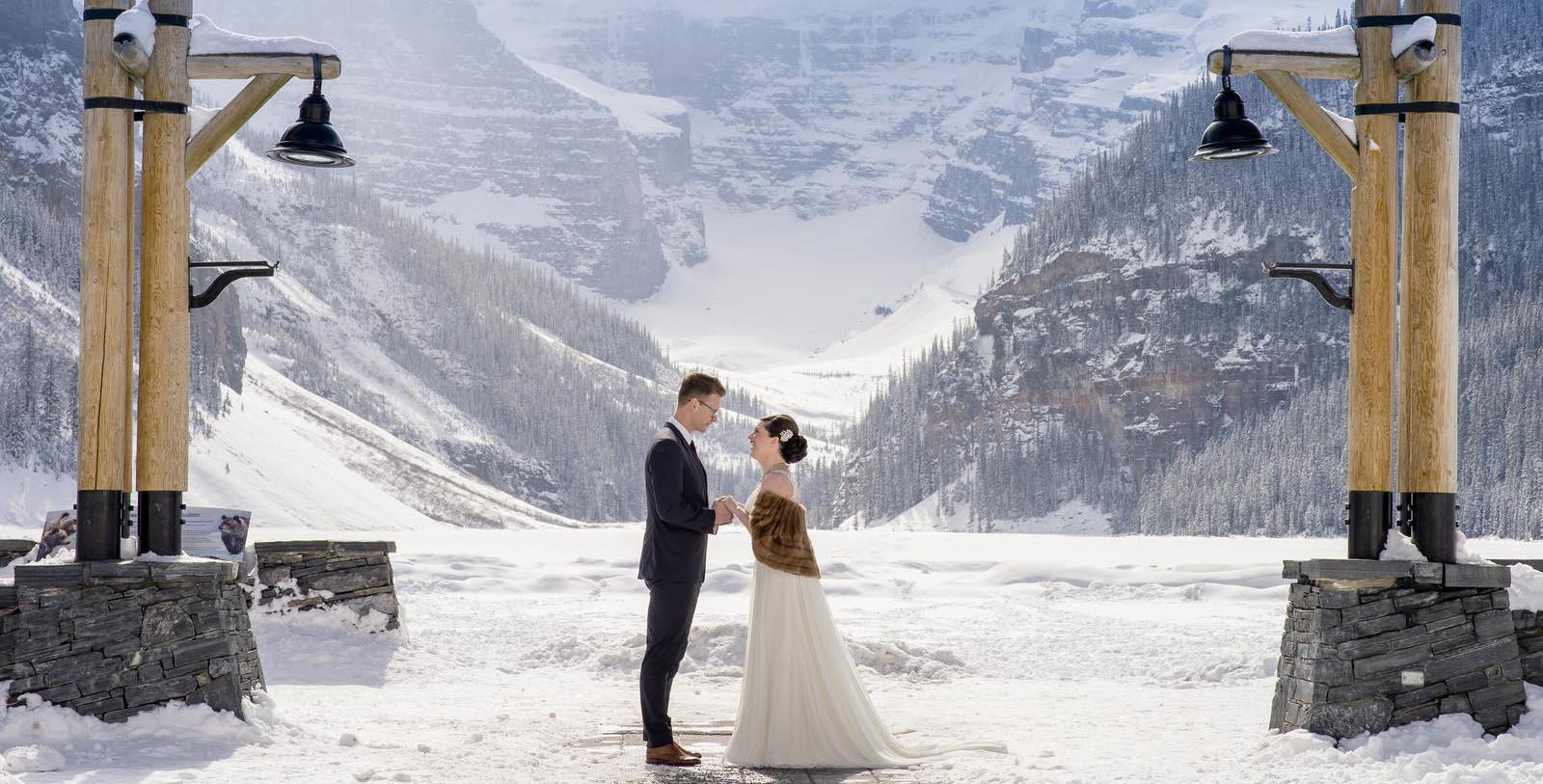 Image of wedding outdoors at Fairmont Chateau Lake Louise, 1911, Member of Historic Hotels Worldwide, in Lake Louise, Alberta, Canada, Experience
