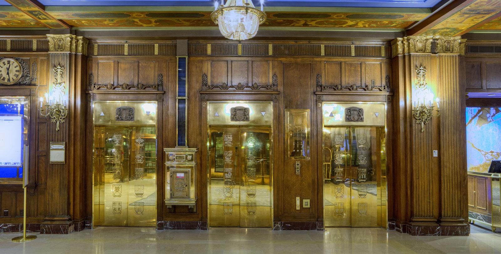 Image of Lobby Elevators, Fairmont Le Château Frontenac, 1893, Member of Historic Hotels Worldwide, in Québec City, Quebec, Hot Deals