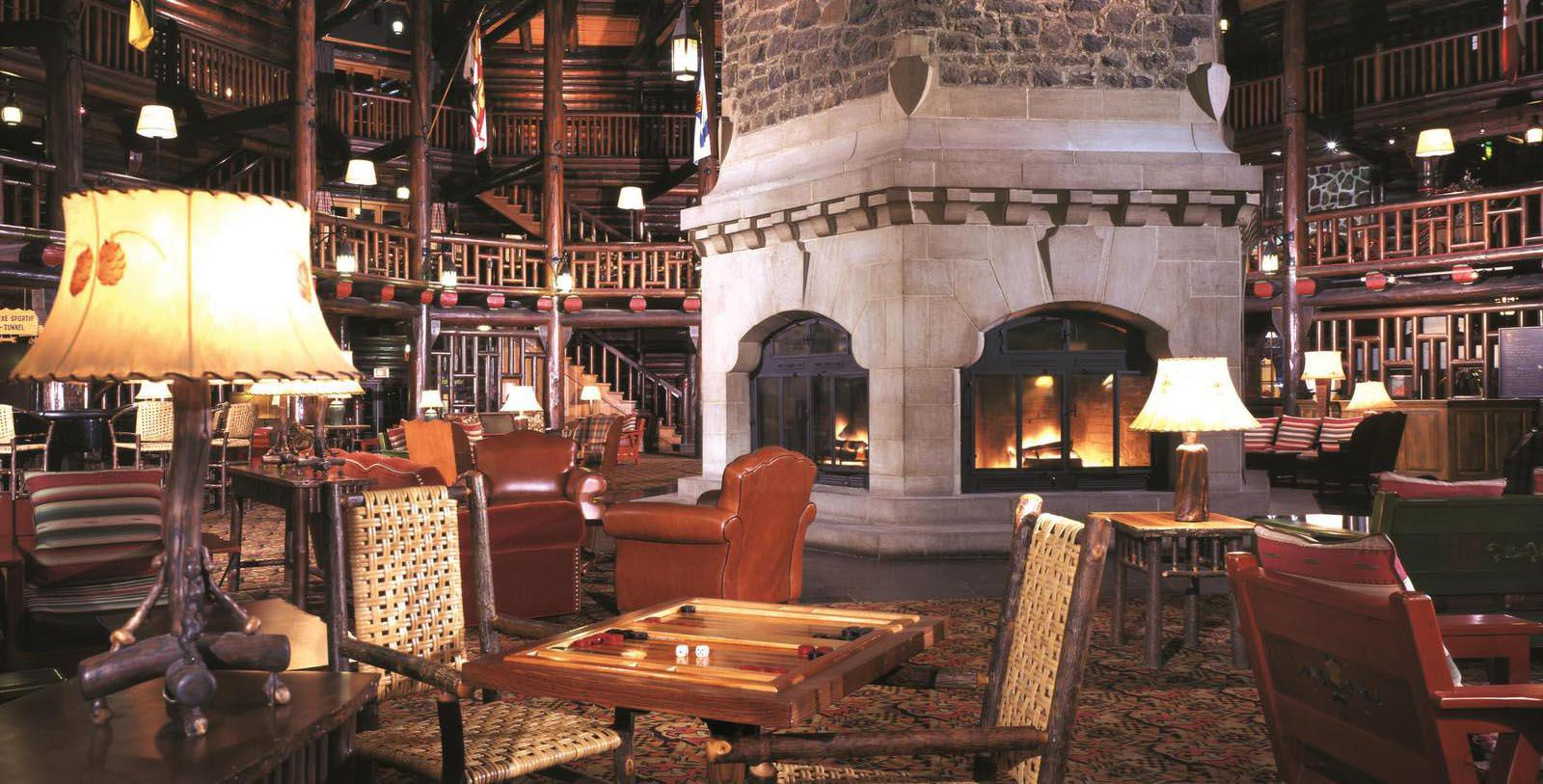 Image of Lobby with Fireplace Fairmont Le Château Montebello, 1930, Member of Historic Hotels Worldwide, in Montebello, Quebec, Discover